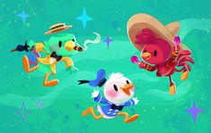 Three Caballeros from Chie Y Boyd - I absolutely NEED this for the imaginary Disney room of my dreams Arte Disney, Disney Magic, Disney Art, Disney Pixar, Disney Birds, Disney Tees, Disney Animation, Animation Film, Cheap Disney Vacation