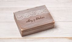 Rustic Wedding Ring Bearer Box Wedding Ring Box Burlap and Lace by InesesWeddingGallery on Etsy