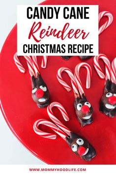 Easy and fun Christmas Recipe that everyone will love. These Candy Cane Reindeer are the perfect holiday treat for parties, school events, or just for some festive fun. Made with candy canes, chocolate, and candy these are a delicious sweet snack. New Year's Desserts, Trifle Desserts, Winter Desserts, Cute Desserts, Party Desserts, Christmas Desserts, Christmas Treats, Holiday Treats, Christmas Fun