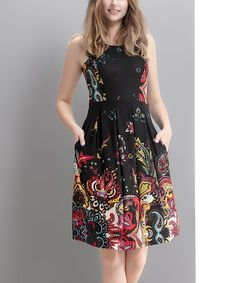 Love this Black Paisley Fit & Flare Dress on #zulily! #zulilyfinds