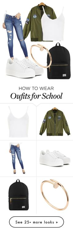 """""""Cute for school!!!"""" by aliacordoves on Polyvore featuring Topshop, Flying Monkey, Kenzo, Herschel Supply Co., Cartier, women's clothing, women's fashion, women, female and woman"""