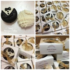 Bride & Groom Chocolate dipped Oreo wedding favors- we have a variety of different edible favor options in both baggies and boxes complete with custom sticker!
