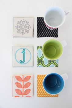 Diy coasters...cute way to.use fabric scraps and be seasonal
