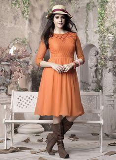 Whimsical Orange #Georgette #Tunic