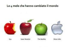 The 4 apples of life Eva,Isaac Newton,The Beatles and Steve Jobs ! Isaac Newton, Steve Jobs, Guillermo Tell, Humor Otaku, Instruções Origami, Apple Records, Spanish Memes, Humor Grafico, Funny Video Memes
