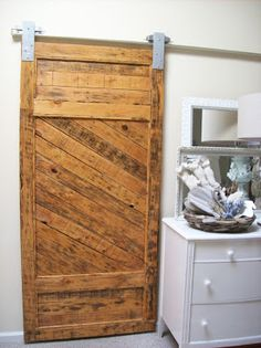 Sliding Barn Door made from pallets - use in goat shed/chicken coop - rather than house.