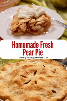 Imagine a delicious homemade pear pie, laced with a flakey buttery crust and a juicy, cinnamon and nutmeg infused fresh pear pie filling. Dessert dreams are made of this! Check out this quick and easy recipe today! Pear Recipes Easy, Quick Easy Desserts, Pie Recipes, Quick Easy Meals, Cooking Recipes, Pear Dessert Recipes, Simple Meals, Lunch Recipes, Pear Pie