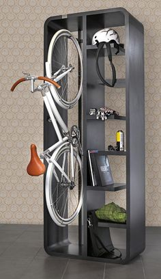 Decorations, Magnificent Indoor Bike Storage Solutions: Minimalist Bicycle Storage Ideas And Book Rack With Elegant White Bike Indoor Bike Storage, Bicycle Storage, Bicycle Rack, Bike Storage Small Space, Bike Hanger, Garage Bike Rack, Bike Storage Solutions, Storage Ideas, Creative Storage