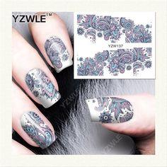 YZWLE 1 Sheet Blooming Flower Nail Art Water Decals Transfer Sticker