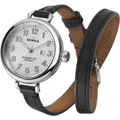 Shinola Birdy 34mm Leather Watch ($475) ❤ liked on Polyvore featuring jewelry, watches, leaf jewelry, leather watches, american jewelry, leather jewelry and american watches