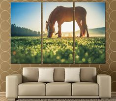 Large Canvas Print Horse on the Meadow Multi Panel Canvas