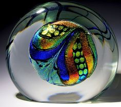 "Rollin Karg Art-Glass Paperweight - Dichroic Disk in Clear slab. 5 1/2""t x 6 1/8""w, 65.8oz, 2012, signed.♥♥"