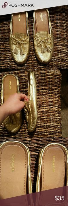 Coach gold slippers Never worn slippers. Got them as a present and looking to down size my closet. Coach Shoes Slippers
