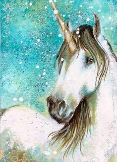 White Buckskin Unicorn With Magical Shine. (Aceo Print Gorgeous White Unicorn by dianaarcuri). Unicorn And Fairies, Unicorn Fantasy, Real Unicorn, The Last Unicorn, Unicorn Horse, Unicorns And Mermaids, Unicorn Art, Magical Unicorn, White Unicorn