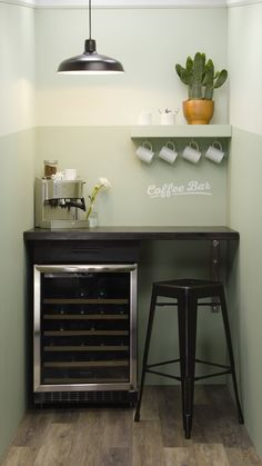 Perk up an unused corner of your home with a DIY coffee bar. Get more clever storage ideas! Maximize Small Space, Small Space Solutions, Small Space Living, Small Spaces, Micro Apartment, Seaside Apartment, Apartment Ideas, Guest Bedrooms, Storage Cabinets
