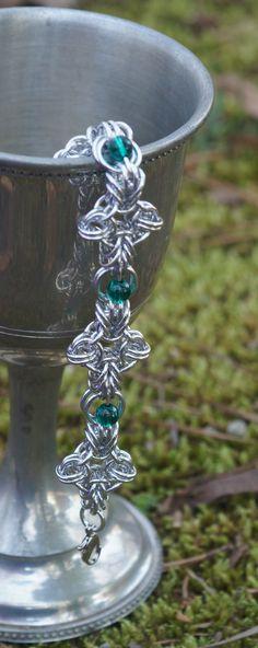B2G chain maille bracelet with Swarovski emerald globe by LABweorc, $20.00