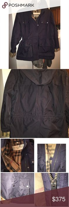 Burberry Brit Cinch Waist Coat Burberry Brit Cinch Waist Coat  Outer shell makes it feel like a raincoat. I've worn it on colder rainy days here in VA and it's worked well. Waist cinches in and out for comfort and fit.  I wear an 8-10 and it fit me well.  Perfect with no flaws. No trades Burberry Jackets & Coats
