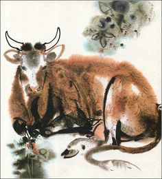 "Alfred Könner, ""Bilderzoo"" by Illustrator Mirko Hanák Watercolor Animals, Watercolor And Ink, Watercolor Paintings, Japanese Drawings, Japanese Art, Art And Illustration, Animal Paintings, Animal Drawings, Tinta China"