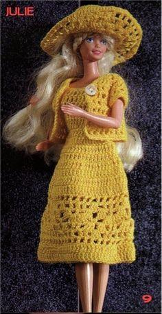 Yellow Dress for Barbie: labores de esther. todo para Barbie (with stitch diagram) Crochet Doll Dress, Crochet Barbie Clothes, Doll Clothes Barbie, Barbie Dress, Knitted Dolls, Barbie Doll, Barbie Knitting Patterns, Barbie Clothes Patterns, Clothing Patterns