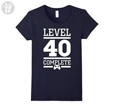 Womens Level 40 complete t shirt - Funny 40th birthday tshirts Large Navy - Birthday shirts (*Amazon Partner-Link)