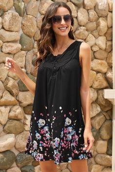7b10379ac58 Black Crew Neck A-Line Daily Beach Floral Dress. Dropship Floral Dresses -  US  ...