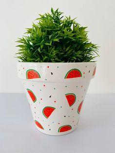Hand Painted And Decoupaged Terracotta Planter, Watermelon's Design. Flower Pot Art, Flower Pot Design, Flower Pot Crafts, Terracotta Plant Pots, Painted Plant Pots, Painted Flower Pots, Watermelon Designs, Watermelon Art, Watermelon Carving