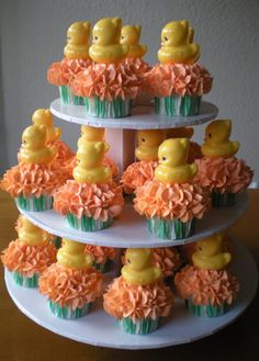 Rubber Ducky Baby Shower Ideas, Cake, and Games Ducky Baby Showers, Baby Shower Duck, Rubber Ducky Baby Shower, Baby Shower Cakes, Girl Shower, Yummy Cupcakes, Cupcake Cookies, Cupcake Tree, Cupcake Toppers
