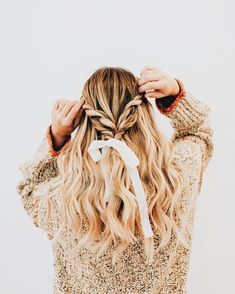 Best Stores to Buy Scrunchies & Scrunchie Hairstyles - Design & Roses - Melody Garrison - Scrunchies Bad Hair, Hair Day, Gorgeous Hair, Hair Designs, Pretty Hairstyles, Half Braided Hairstyles, Elegant Hairstyles, Hair Looks, Curly Hair Styles