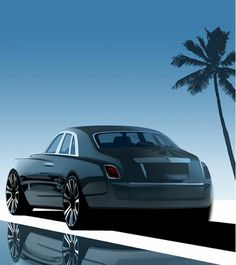 The gallery of photos and design illustrations of the generation Phantom, featuring an all-new aluminum modular platform, a liter biturbo engine and a luxurious interior focused on maximum comfort. Car Design Sketch, Car Sketch, Donk Cars, Rendering Techniques, Photoshop Rendering, Automobile, Rolls Royce Phantom, Car Drawings, Commercial Vehicle