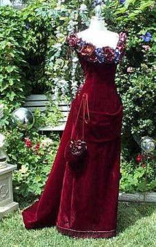 Victorian Bustle Gown....Optional Flowers- Custom