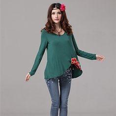 Floral-notched Shirt - 3 Colors - USD $ 18.59
