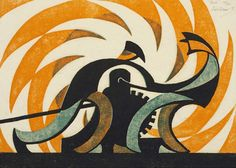 Sybil Andrews (British/Canadian, 1898-1992), Winch, 1930. Three colour linocut on Japanese paper, 23.8 x 32.2 cm. Edition of 60.