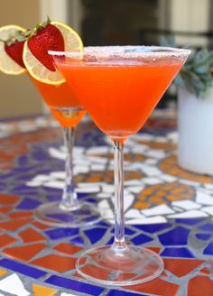 Fresh strawberries add a delicious flavor to a traditional Lemon Drop Martini!