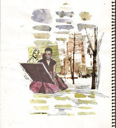 Comienza la nueva temporada en el Blog caminando escribiendo y dibujando. Bienvenid@s!!! #ladytacones #collage #collagecollectiveco #artjournal #watercolor #mixedmedia #caminaescribedibuja #walkwritedraw #sketchbook #drawing