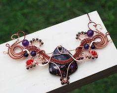 Dancing Purple Necklace Wire Wrap Amethyst Glass Metal Acrylic Artisan Necklace #Jeanninehandmade #Wrap