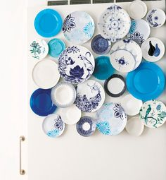 A collection of mismatched blue-and-white plates make for a DIY art installation—a definite conversation piece during dinner parties. ON REMODELISTA: An Interesting Twist on Wall Decor