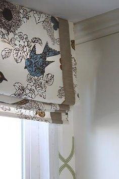Bird Fabric with Burlap Ribbon ***Made with a series of wooden slats on the back; for easy folding when drawn, with no visible seams on the front. Blackout Lined Kitchen Window Treatments, Custom Window Treatments, Burlap Window Treatments, Roman Blinds, Curtains With Blinds, Valances, Valences For Windows, Burlap Curtains, Bay Windows