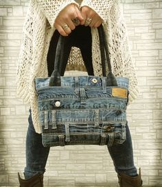 Denim purse tote bag recycled distressed grunge rock by BukiBuki on Etsy