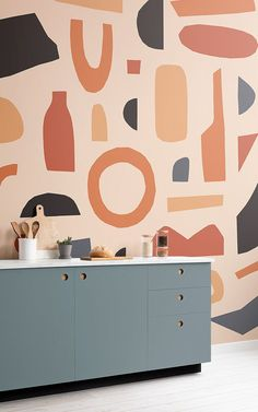 Check out this modern wallpaper inspired by Matisse. The unique Orange Abstract Shapes Wallpaper Mural will complete your space. Unusual Wallpaper, Normal Wallpaper, Standard Wallpaper, How To Hang Wallpaper, Modern Wallpaper, Of Wallpaper, Orange Wallpaper, Modern Interior, Interior Styling