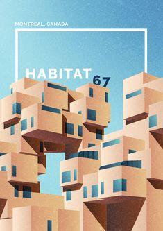 marta colmenero architectural poster habitat 67