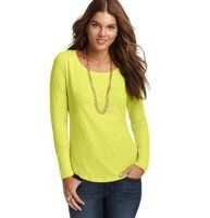 Slubbed Cotton Long Sleeve Tee - This everyday cotton favorite features a rounded hem for a touch of shaping - plus an unbeatably soft slubbed finish. Scoop neck. Long sleeves. Banded neckline and cuffs. Rounded hem. Vertical seam detail at back.