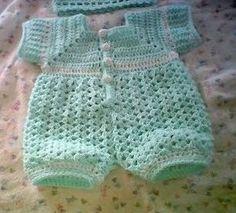 0005 Baby Boy Pattern,Newborn to 03 Months Pattern,Crochet Romper,Classic Set Infant Boys Pattern by CarussDesignZ Crochet Baby Dress Free Pattern, Crochet Romper, Crochet Baby Clothes, Crochet For Boys, Free Crochet, Boy Crochet, Crochet Patterns, Romper Pattern, Crochet Dresses