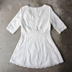 off duty plunging festival dress in white lace (women) - shophearts - 1