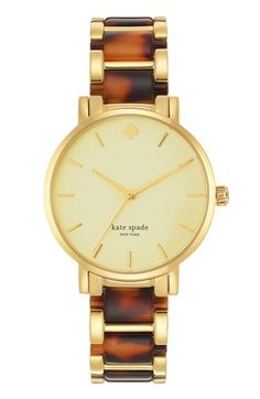 Free shipping and returns on kate spade new york 'gramercy' resin link bracelet watch, 34mm at Nordstrom.com. Tortoiseshell-patterned resin adds a sophisticated note to a classic round bracelet watch cast in warm hues.
