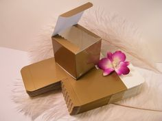 50 Gloss Gold Favor Tuck Top Boxes - 3 x 3 x 3 -Holiday Packaging Favor Gift Boxes - Black Tie Formal - DIY Wedding favors - Gift Wrap Idea $22.45