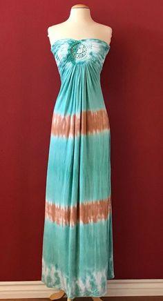 NWT SKY BRAND Green Brown Tie Dye Crochet Strapless Maxi Dress Size M NEW #Sky #Maxi #Casual