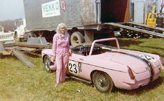 "Donna Mae Mims got her start as a racer in a solid-axle Corvette. Mims and her husband purchased that 'Vette new from Don Yenko Chevrolet and she raced it in SCCA B Production in 1961, winning at Cumberland, Maryland. ""The Lady in Pink"" as she became known, lettered the Corvette with the slogan ""Think Pink"" and ultimately owned a pink Bugeye Sprite that she raced successfully in H/Production in 1963."
