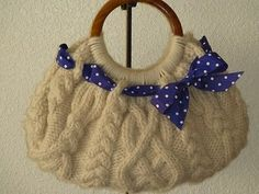 Margaret Nicole New York Knit Wool Handmade Wood Cream Ivory Bangle Tote Bag