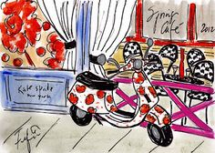 kate spade vespa (illustration form) #ridecolorfully, #katespadeny and #vespa