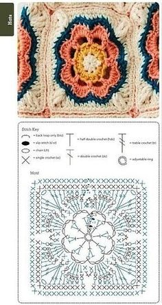 Crochet Blocks, Granny Square Crochet Pattern, Crochet Flower Patterns, Crochet Diagram, Crochet Stitches Patterns, Crochet Chart, Crochet Squares, Crochet Granny, Crochet Motif